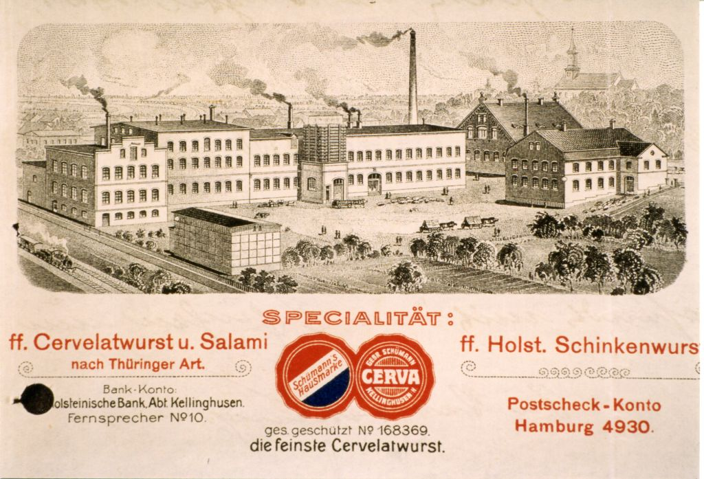 Wurstfabrik Gebrueder Schuemann, Kellinghusen (Schleswig-Holstein/Germany), ca. Ende 19./Anfang 20. Jahrhundert.